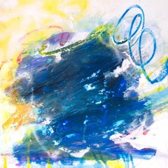 "SAPPHIRE, Contemporary Blue and Yellow Fine Art on Giclee Canvas: 36""H x 36""W"