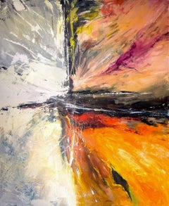 "STARBURST, Contemporary Orange and Red Fine Art on Giclee Canvas: 60""H x 40""W"