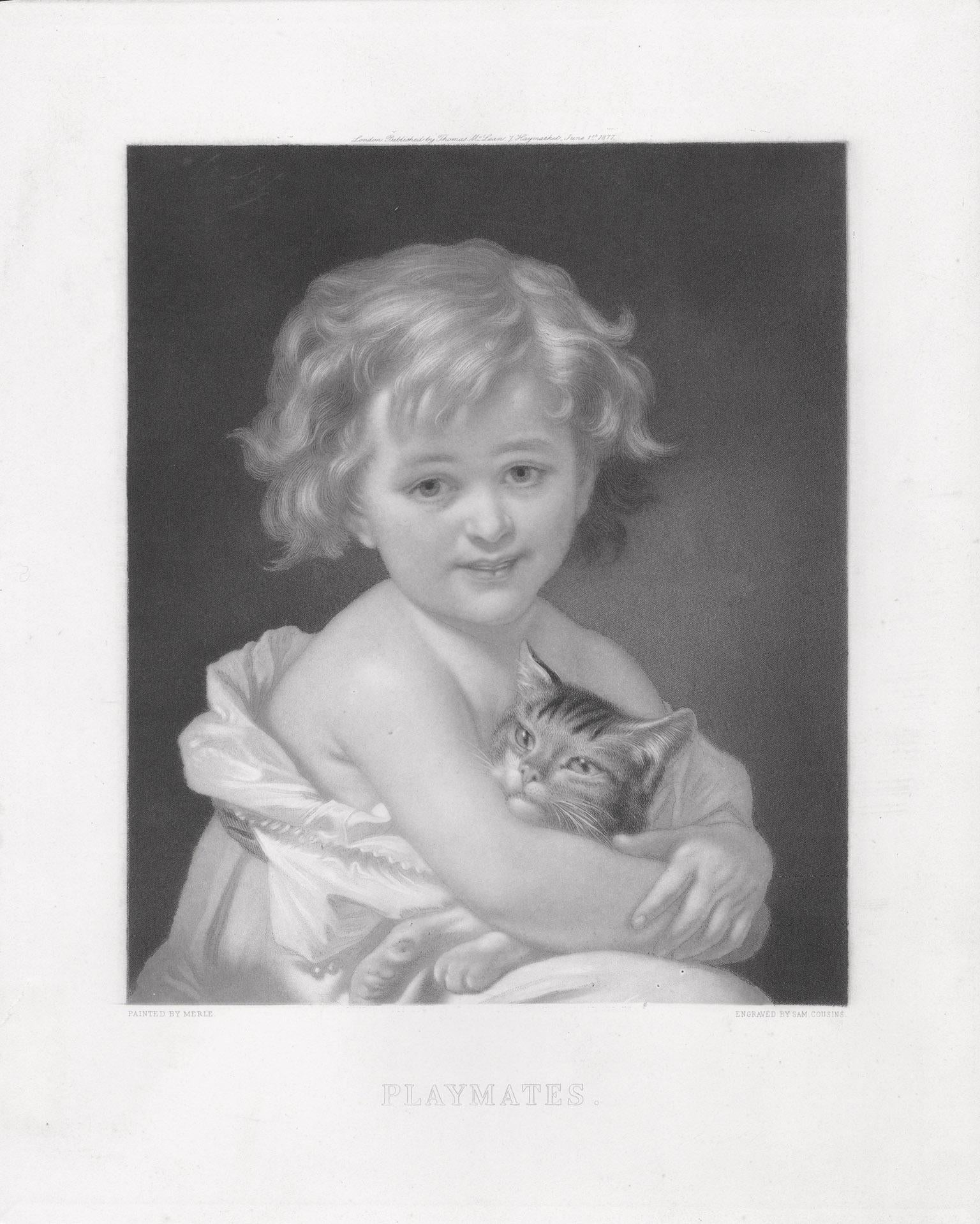 Playmates, mezzotint of child and cat by Cousins after Hugues Merle