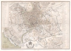 Plan of Rome, Italy, detailed 19th century tinted lithograph map