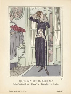 Monsieur Est-il Rentre ? French Art Deco Gazette du Bon Ton Fashion Plate, 1920