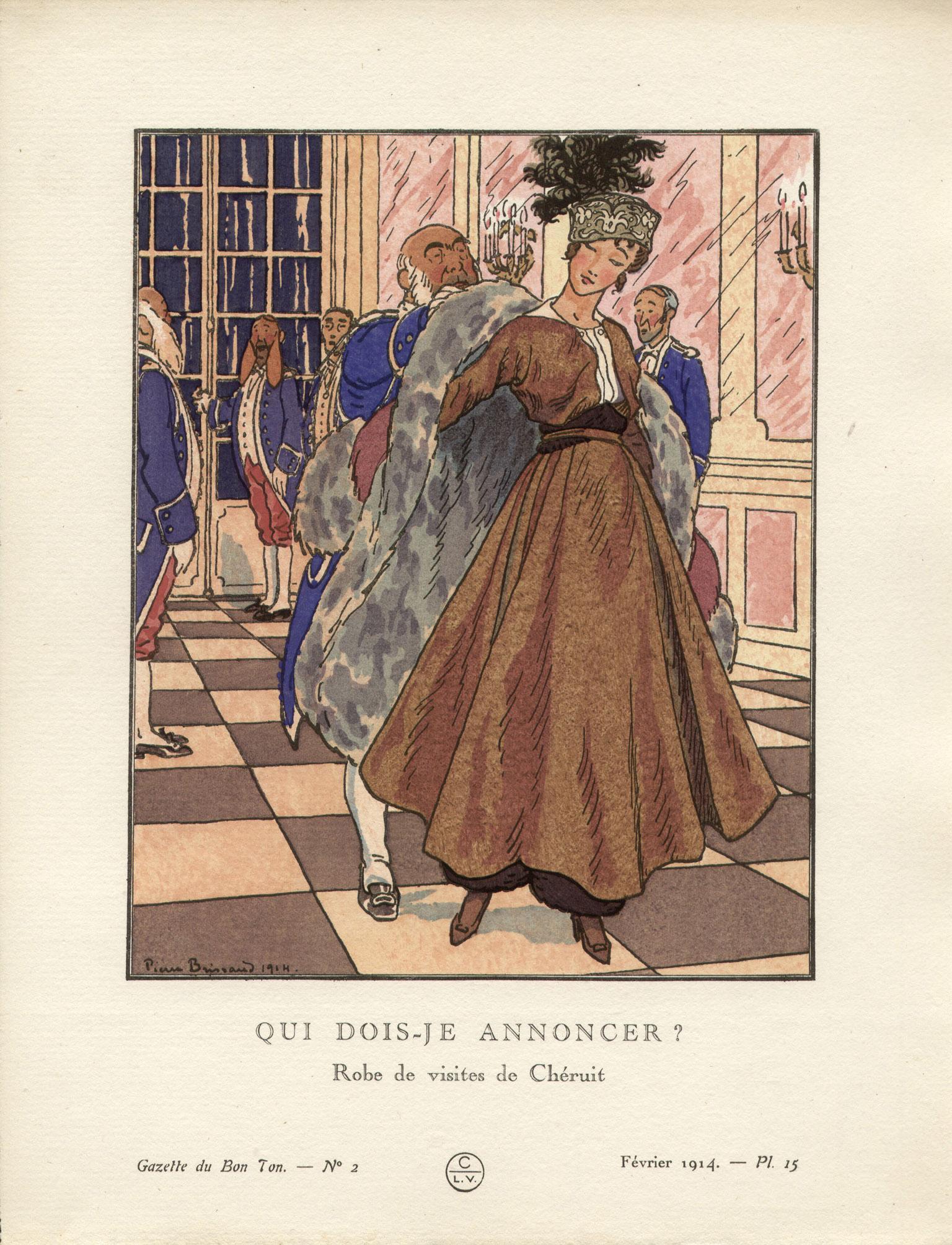 Qui dois-je annoncer ? French Art Deco Gazette du Bon Ton Fashion Plate, 1914