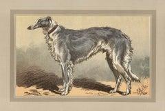 Borzoi, French hound dog chromolithograph, 1930s