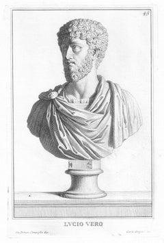 Lucius Vero, Roman sculpture bust C18th Italian Grand Tour engraving, c1750