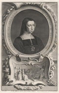 Catherine of Aragon, Queen of Henry VIII, portrait engraving, c1820