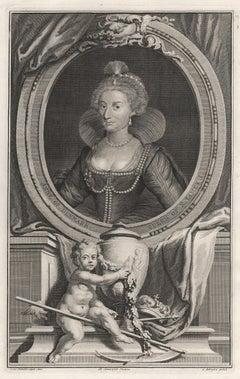 Anne of Denmark, Queen of James I, portrait engraving, c1820
