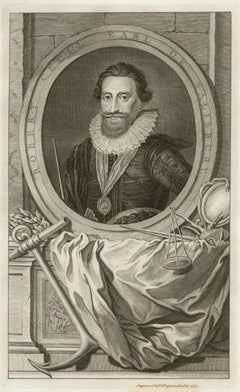 Robert Cecil Earl of Salisbury, portrait engraving, c1820