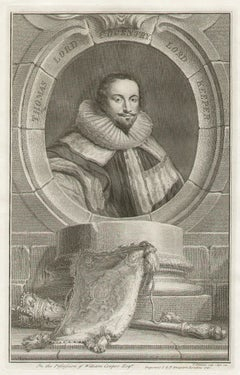 Thomas Lord Coventry Lord Keeper, portrait engraving, c1820