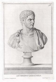 Antonio Caracalla, Roman sculpture bust C18th Grand Tour engraving, c1750