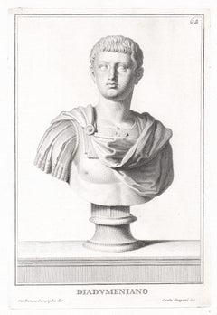 Diadumeniano, Roman sculpture bust C18th Grand Tour engraving, c1750