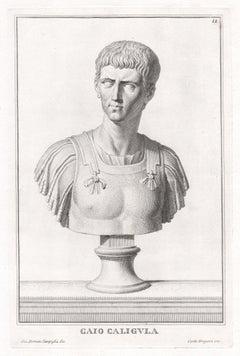 Caio Caligula, Roman sculpture bust C18th Grand Tour engraving, c1750