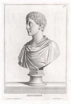 Commodo, Roman sculpture bust C18th Grand Tour engraving, c1750