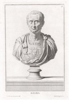 Galba, Roman sculpture bust C18th Grand Tour engraving, c1750
