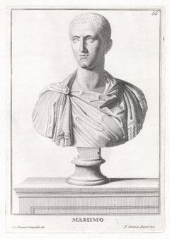 Massimo, Roman sculpture bust C18th Grand Tour engraving, c1750