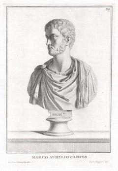 Marco Aurelio Carino, Roman sculpture bust C18th Grand Tour engraving, c1750