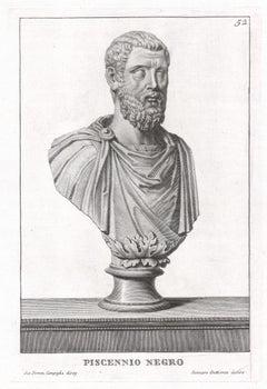 Piscennio Negro, Roman sculpture bust C18th Grand Tour engraving, c1750