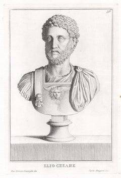 Elio Cesare, Roman sculpture bust C18th Grand Tour engraving, c1750