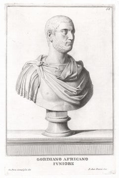 Gordiano Africano Junior, Roman sculpture bust C18th Grand Tour engraving, c1750