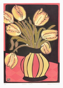 Tulips, Aileen Brown colour linocut, 2009