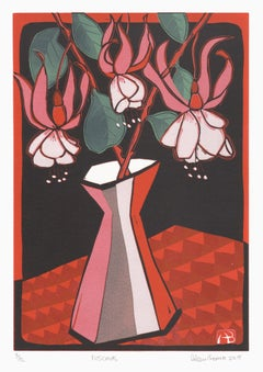 Fuschias, Aileen Brown colour linocut, 2005