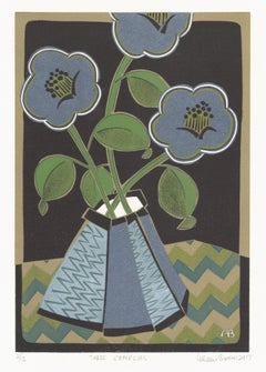 Three Camelias, Aileen Brown limited edition colour linocut, 2015