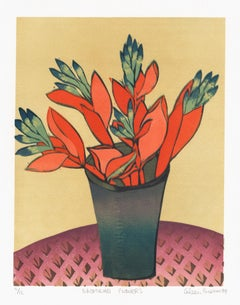 Bromeliad Flowers, Aileen Brown limited edition colour linocut, 1999