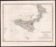 Ancient Italy and Sicily. Antique map, 1830