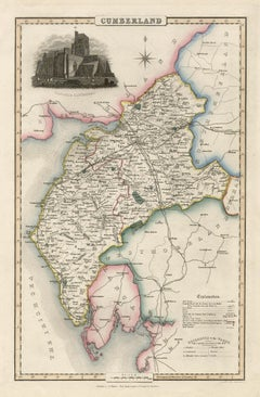 Cumberland, English County Antique map, 1847