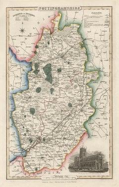 Nottinghamshire, English County Antique map, 1847