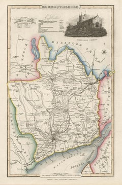 Monmouthshire, English County Antique map, 1847