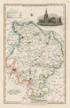 Huntingdonshire, English County Antique map, 1847