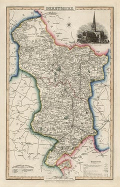 Derbyshire, English County Antique map, 1847