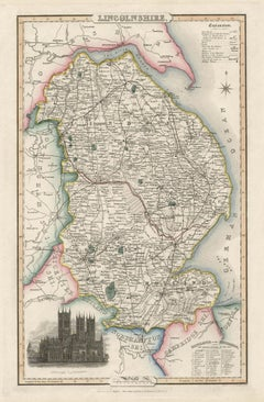 Lincolnshire, English County Antique map, 1847