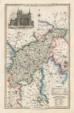 Northamptonshire, English County Antique map, 1847