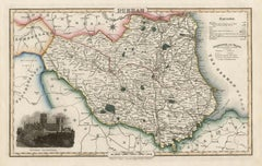 Durham, English County Antique map, 1847