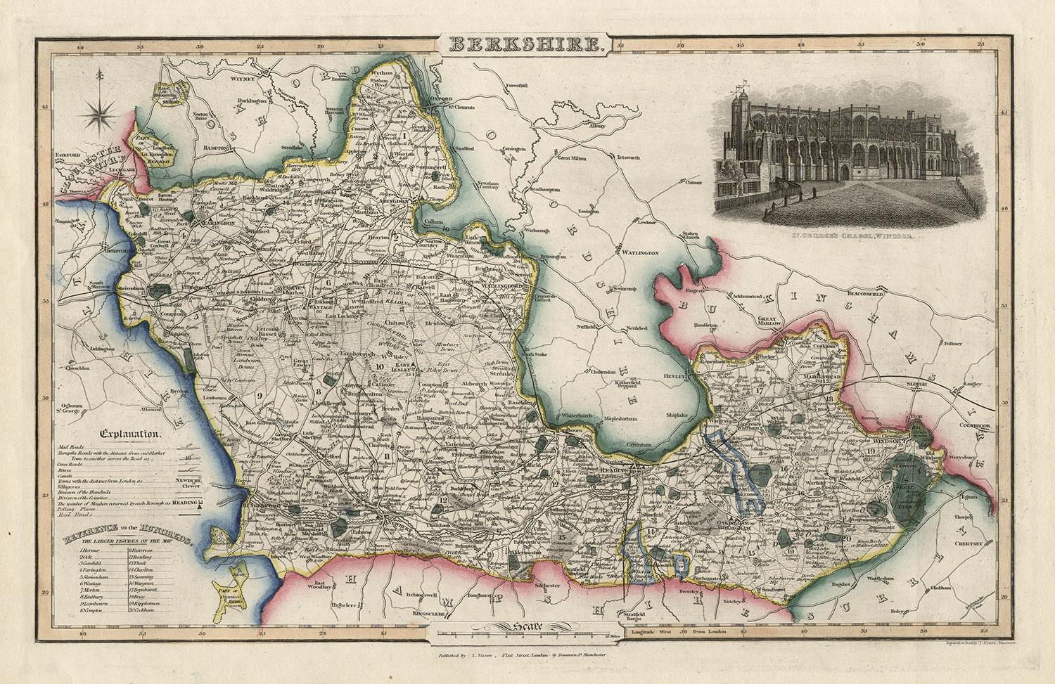 Derbyshire antique English county map by Slater 1847