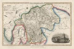Westmoreland, English County Antique map, 1847