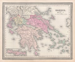 Greece, Antique map, 1854