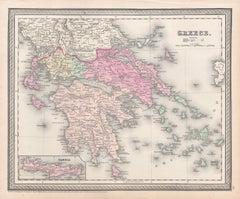 Greece, Antique map, 1854