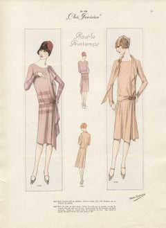 Art Deco French 1920s Fashion Design Vintage Print