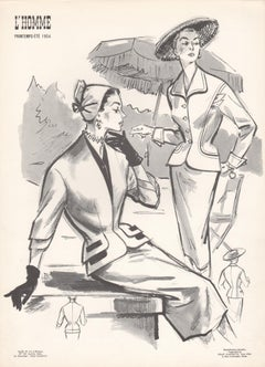 French Mid-Century 1954 Fashion Design Vintage Lithograph Print