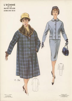 French Mid-Century 1959/1960 Fashion Design Vintage Lithograph Print