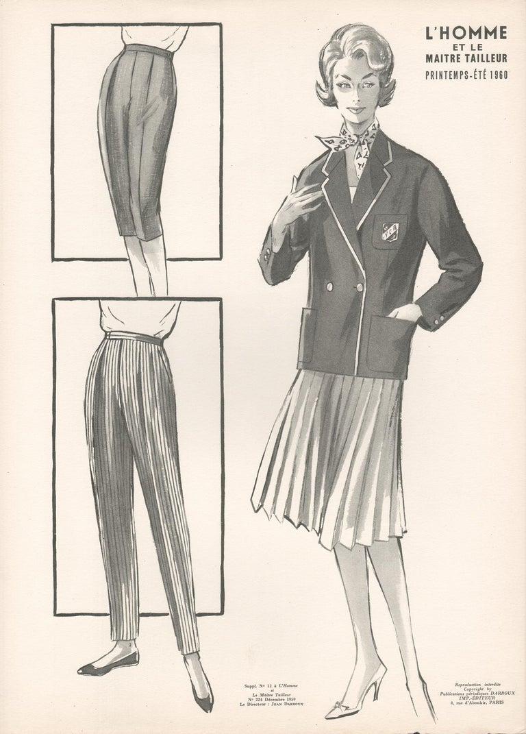 Jean Darroux  Figurative Print - French Mid-Century 1958 Fashion Design Vintage Lithograph Print