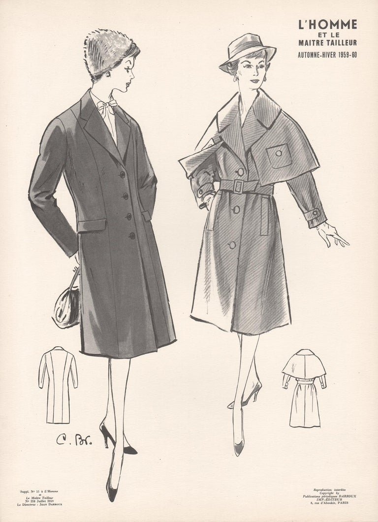 Jean Darroux  Figurative Print - French Mid-Century 1959/1960 Fashion Design Vintage Lithograph Print