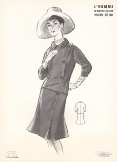 French Mid-Century 1962 Fashion Design Vintage Lithograph Print
