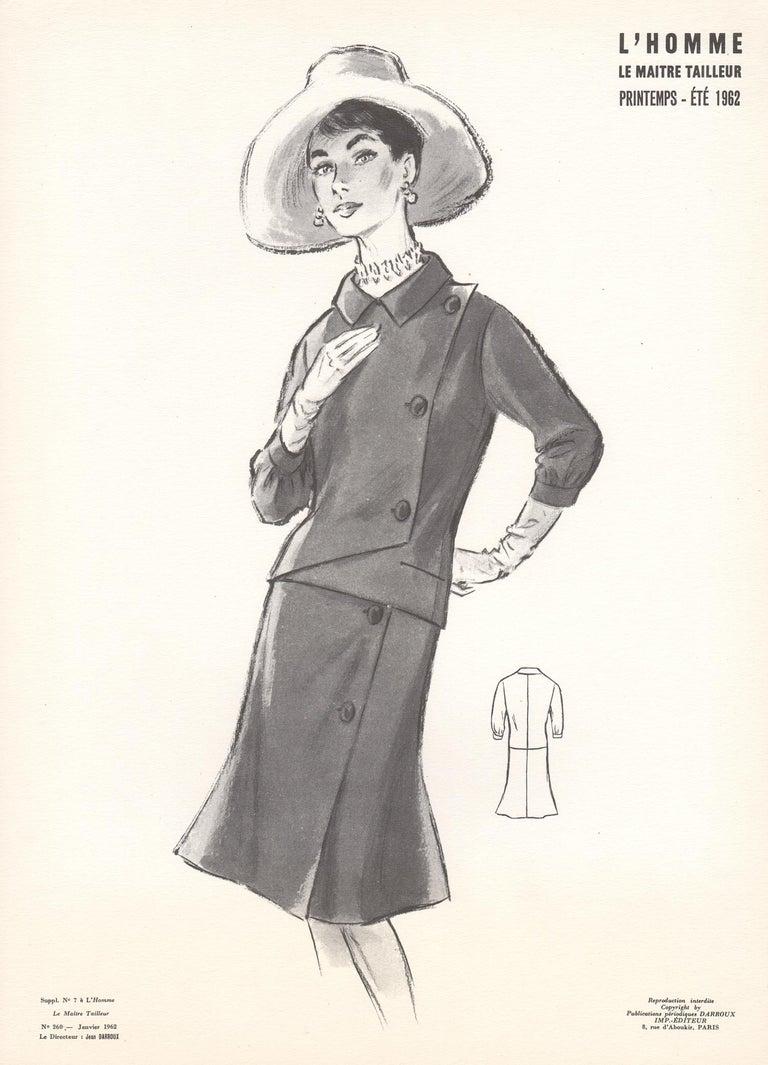 Jean Darroux  Figurative Print - French Mid-Century 1962 Fashion Design Vintage Lithograph Print