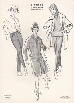 French Mid-Century 1961/1962 Fashion Design Vintage Lithograph Print