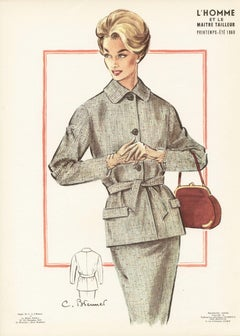 French Mid-Century 1960 Fashion Design Vintage Lithograph Print
