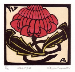 Waratah, Aileen Brown limited edition colour linocut, 2008