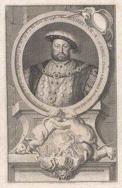 Henry VIII, portrait engraving, c1820